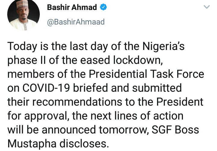 FG To Announce Next Phase Of Eased Lockdown On June 30